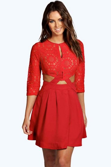 Red Lace Cutout Side Skater Dress