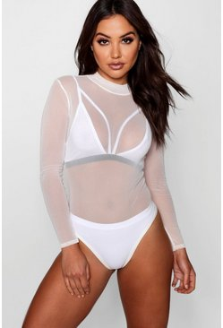 Cream white Rose Turtle Neck All Over Mesh Bodysuit