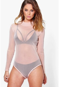 Nude Rose Turtle Neck All Over Mesh Bodysuit