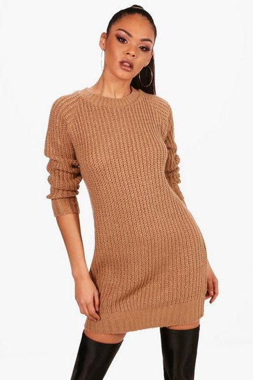 Camel beige Soft Knit Jumper Dress
