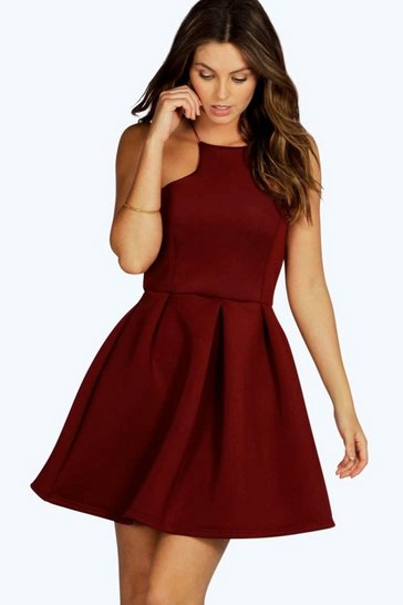 Berry red Carry Bonded Scuba Cutaway Skater Dress