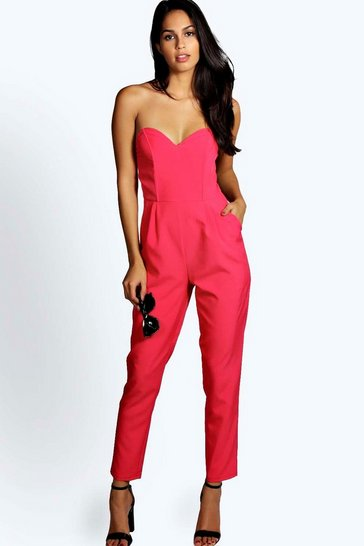 Pink Nadine Woven Bandeau Tapered Leg Jumpsuit