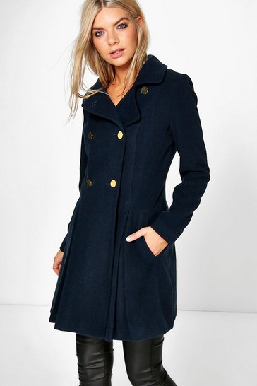 Navy Sara Military Fit And Flare Coat