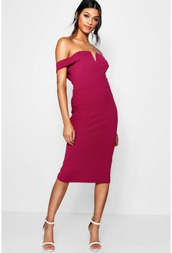Raspberry pink Off The Shoulder Midi Bodycon Dress