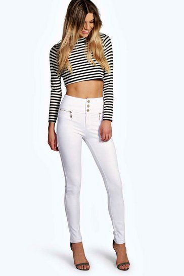 White Sophia Gold Trim 3 Button Super Skinny Trousers