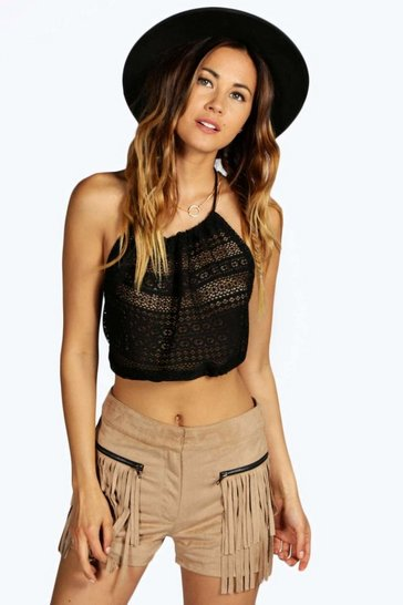Black Aimee 90'S Lace Crop