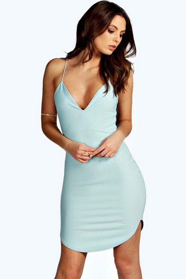 Pale blue blue Christel Curved Hem Strappy Bodycon Dress