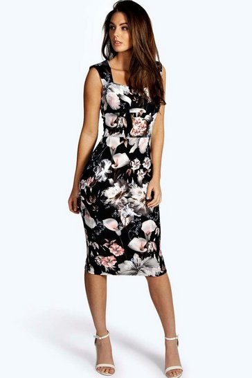 Black Ivy Floral Print Sweetheart Midi Bodycon Dress
