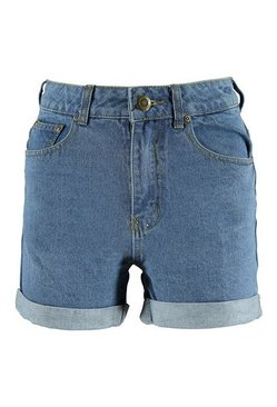 Indigo Roll Hem Vintage Denim Mom Shorts