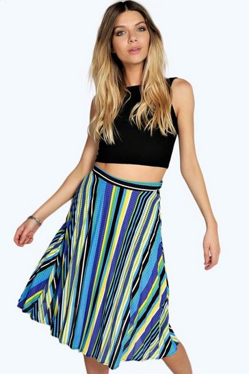 Blue Mary Multi Colour Stripe Pleated Midi Skirt