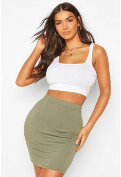 Khaki Basic Jersey Mini Skirt