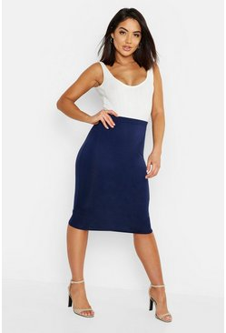 Navy Basic Jersey Midi Skirt