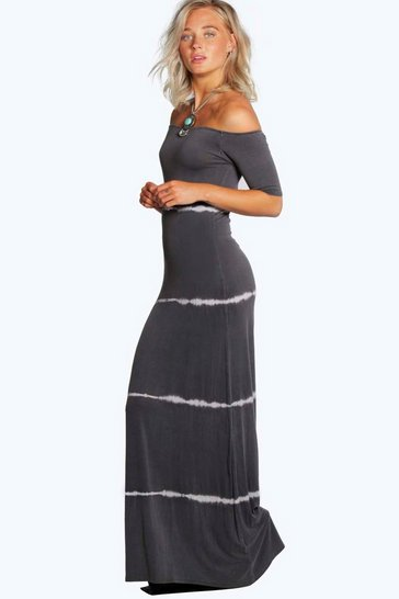 Grey Tina Tiedye Off The Shoulder Maxi Dress