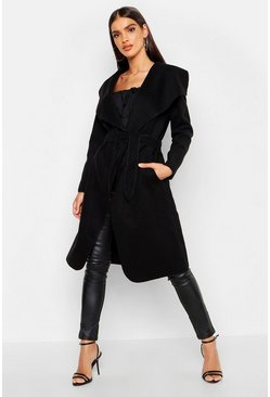 Black Belted Shawl Collar Coat