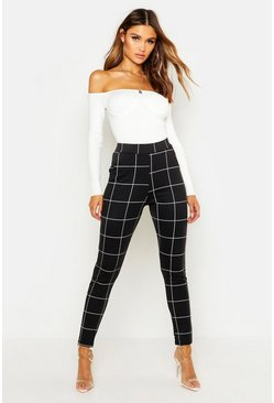 Black Ponte Pocket Detail Check Printed Trousers
