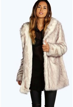 Cream white Boutique Hooded Faux Fur Coat