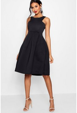 Black Scuba Cutaway Neckline Midi Bridesmaid Dress