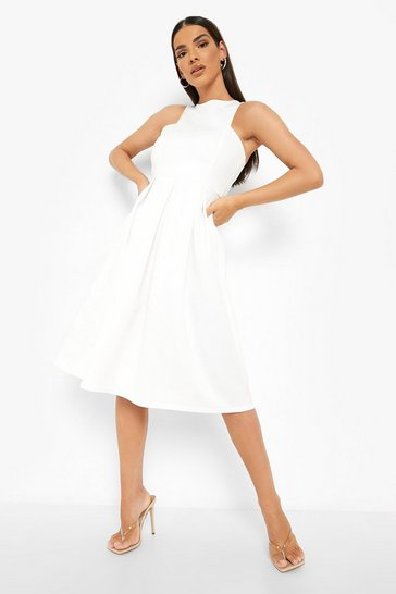 Ivory white Scuba Cutaway Neckline Midi Bridesmaid Dress