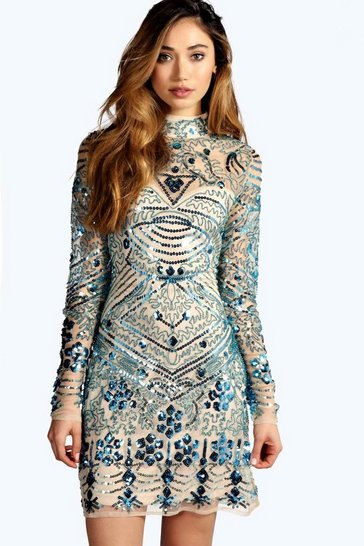 Multi Boutique  Embellished High Neck Bodycon Dress