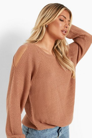 Camel beige Cold Shoulder Moss Stitch Jumper