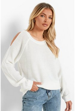 Cream white Cold Shoulder Moss Stitch Jumper
