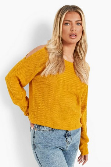 Mustard yellow Cold Shoulder Moss Stitch Jumper