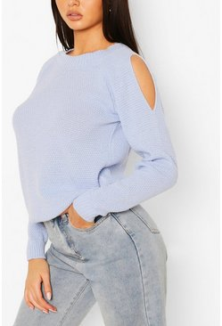 Pastel blue blue Cold Shoulder Moss Stitch Sweater