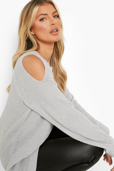 Silver Cold Shoulder Moss Stitch Jumper