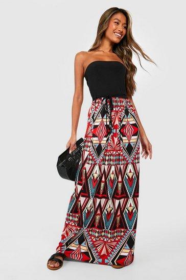 Multi Geo Print Bandeau Maxi Dress