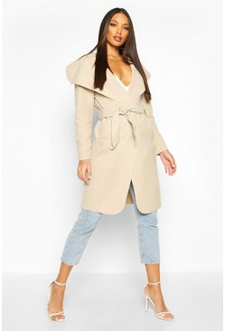 Stone beige Belted Shawl Collar Coat