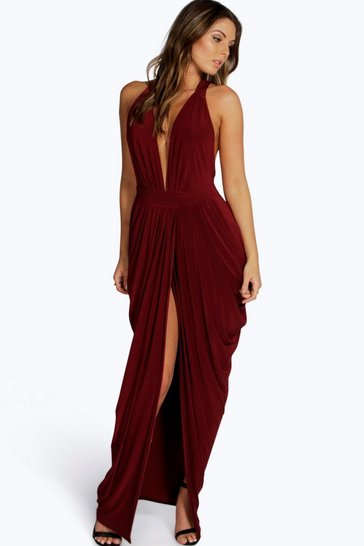 Berry red Emmie Plunge Drape Effect Maxi Dress