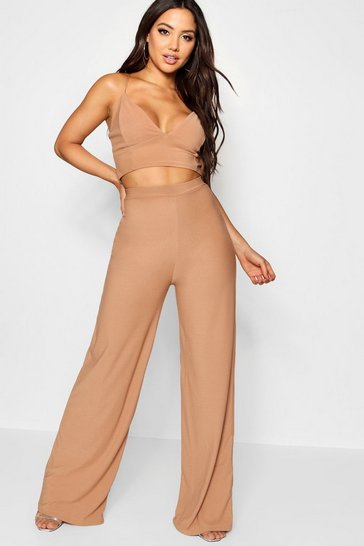 Camel beige Crepe Bralet Palazzo Trouser Co-Ord Set