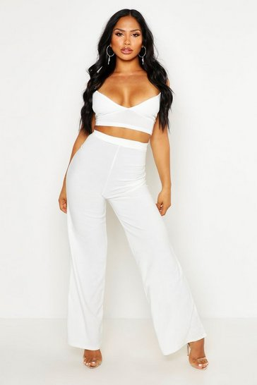White Crepe Bralet Palazzo Trouser Co-Ord Set