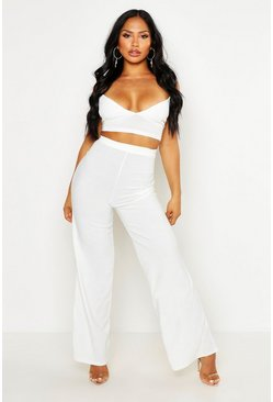 White Crepe Bralet Palazzo Pants Co-Ord Set