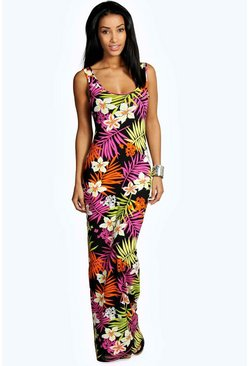 Multi Tropical Scoop Neck Maxi Dress
