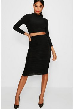 Black Rouched Sleeve Midi Skirt Co-Ord Set