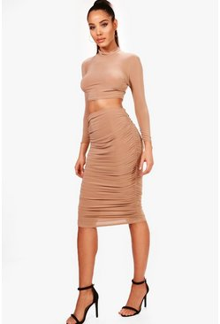 Camel beige Rouched Sleeve Midi Skirt Co-Ord Set