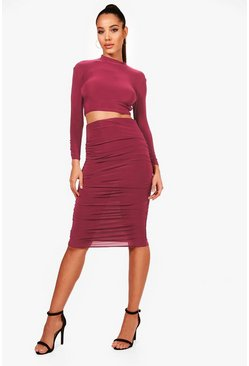 Rose pink Rouched Sleeve Midi Skirt Co-Ord Set