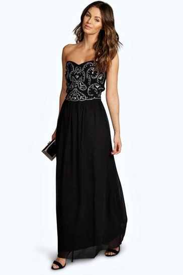 Black Boutique Lily Embellished Chiffon Maxi Dress