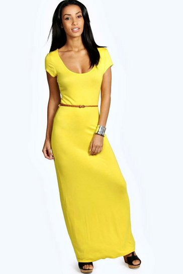 Yellow Lottie Cap Sleeve Belted Maxi Dress