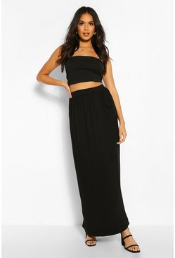 Black Basic Pocket Front Jersey Maxi Skirt