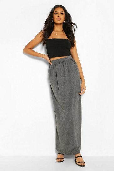 Charcoal Basic Pocket Front Jersey Maxi Skirt