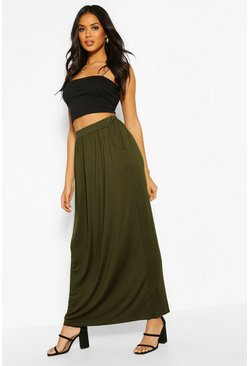 Khaki Basic Pocket Front Jersey Maxi Skirt