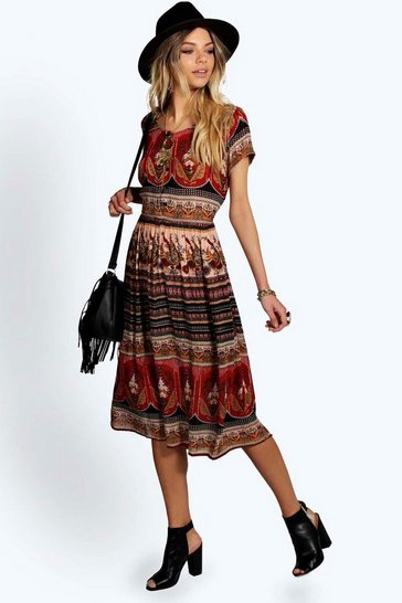 Multi Anisa Paisley Button Woven Midi Dress