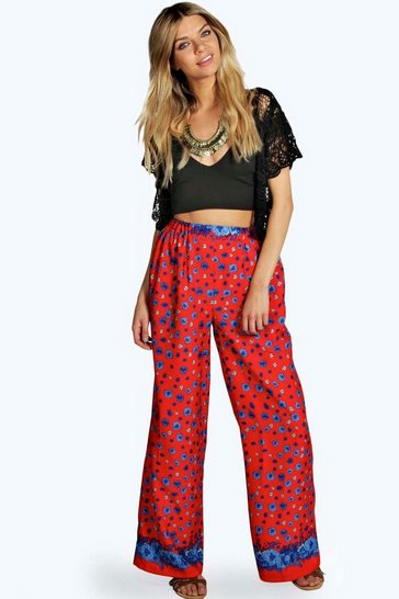 Red Hilary Floral Border Wide Leg Woven Trousers