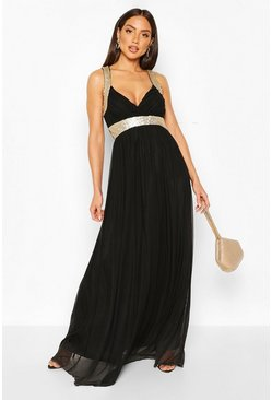 Black Boutique Sequin Panel Maxi Bridesmaid Dress