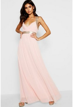 Blush Boutique Sequin Panel Maxi Bridesmaid Dress