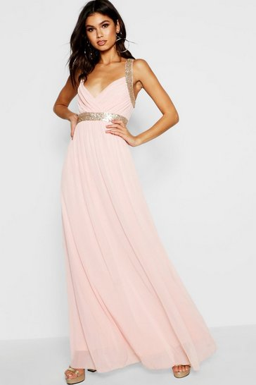 Blush pink Boutique Sequin Panel Maxi Bridesmaid Dress