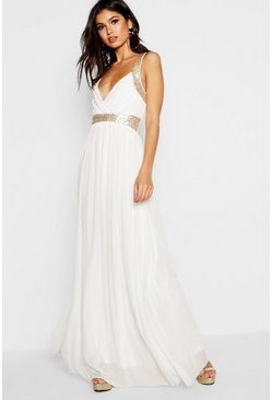 Ivory white Boutique Sequin Panel Maxi Bridesmaid Dress