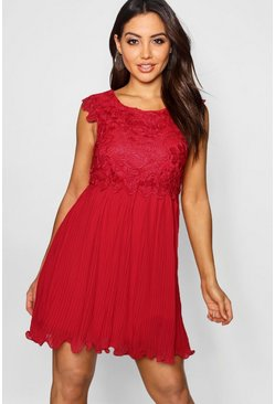 Berry red Boutique  Corded Lace Pleated Skater Dress